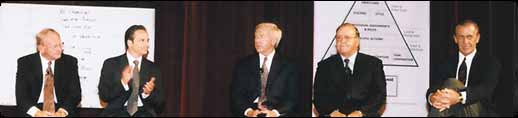 Photo of Bo Schembechler, The Business of Winning author Robert Evangelista, an unamed Fortune 50 CEO, NHL Hall of Fame legend Scotty Bowman, NBA Hall of Fame coach Pat Riley at one of The Business of Winning Leadership Symposiums.